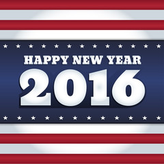 """Vector New Year 2016 greeting card design with text """"Happy New Year"""". Colors of national flag of USA. Square format."""