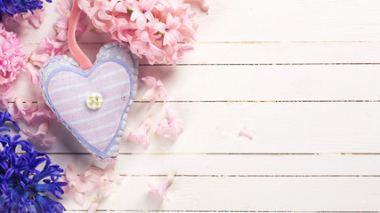 Background  with fresh blue and pink flowers hyacnths  and decor