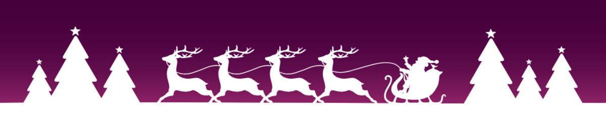 Banner Christmas Sleigh Forest Purple/White
