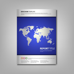 Brochures book or flyer with wold map template