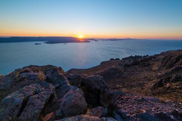 Sunset on Titicaca Lake from Amantani' Island, Peru