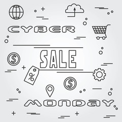 Cyber monday design. Vector illustration eps10. Cyber monday gra