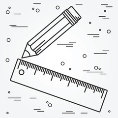 Ruler and pencil thin line design. Ruler and pencil pen Icon. Ru