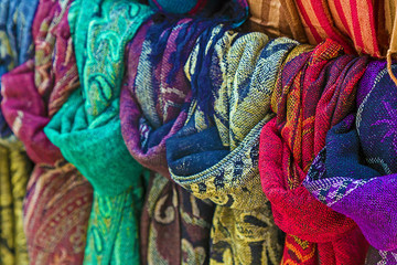 Scarves of various colors