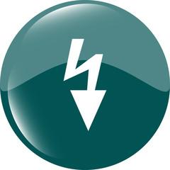 Photo flash sign icon. Lightning symbol. Web shiny button vector illustration