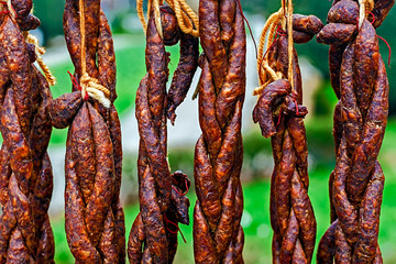 Romanian sausages (carnati), smoked and dried