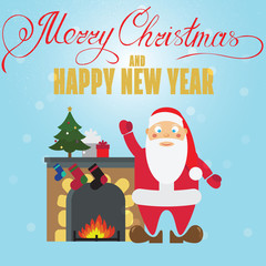 Christmas poster design with Santa Claus, fireplace, christmass