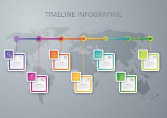 Vector illustration infographic timeline of seven options