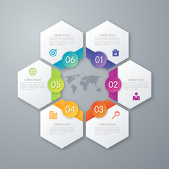 Stock options infographics six hexagons