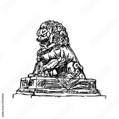 Illustration Vector Doodle Hand Drawn Of Sketch Big Bronze Lion In Forbidden City