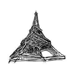 illustration vector doodle hand drawn of sketch Paris eiffel tower isolated on white