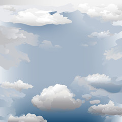 Clouds - vector background. Hand drawn vector illustration of sky filled with various types of clouds.