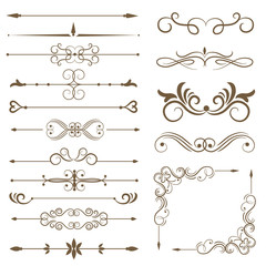 Antique decorative elements, and scroll elements, set page dividers. Vector illustration