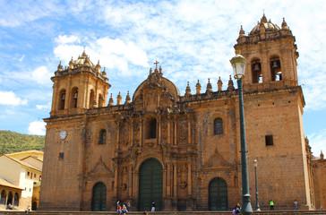 cathedral church at the Plaza de Armas. Cuzco, Peru.