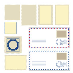 Envelope and different shapes of stamps