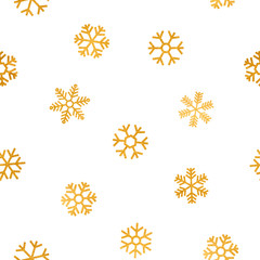 Seamless pattern of falling golden snowflakes.