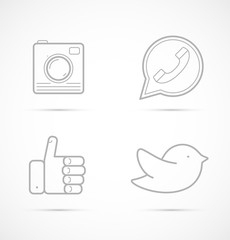 Outline icons of camera, handset, like and bird for social media, websites, interfaces