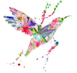 Poster Geometric animals hummingbird multicolored on white background
