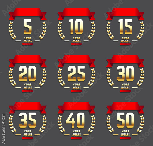 Vector Set Of Anniversary Gold Signs 510 15 20 25 30 35 40