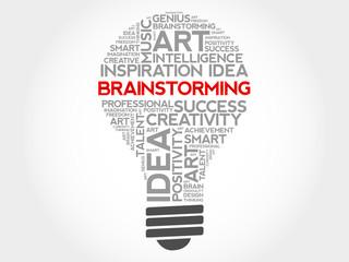 Brainstorming bulb word cloud concept