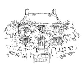 Hand made sketch of old house.