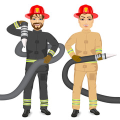 two happy firemen holding hose
