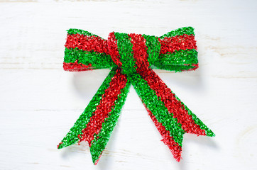 Red and green Christmas ribbon bow