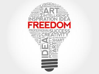 Freedom bulb word cloud concept