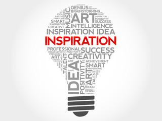 Inspiration bulb word cloud concept