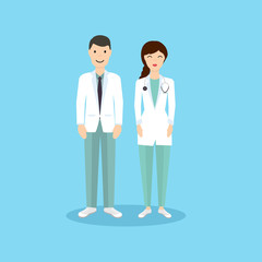 Male and Female Doctor occupation character in flat design. Vect