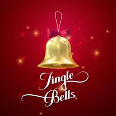 Golden Christmas Bell. Vector Holiday Illustration