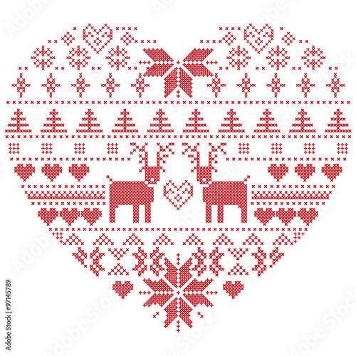 Scandinavian Nordic Winter Stitch Knitting Christmas Pattern In In