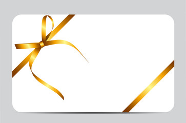 Gift Card with Gold Ribbon and Bow. Vector illustration