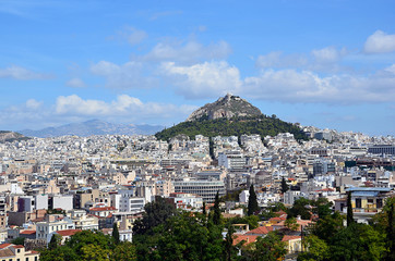 athens capital city and lycabettus hill landscape photography