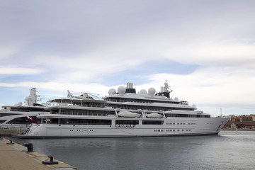 Large yacht with helicopter