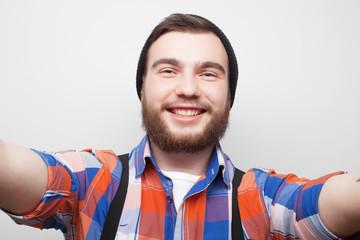 Happy selfie. Young man.