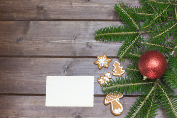 Christmas background on the wooden desk
