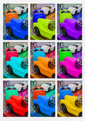 Nine different colored toys cars at fair ground