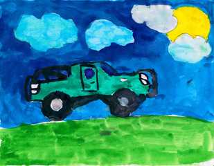car on meadow and sun, childish watercolor paint