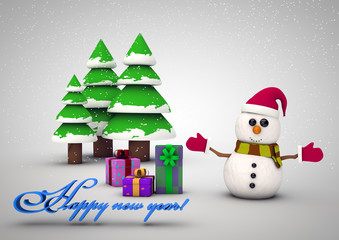 Christmas card with Christmas tree,snowman and gifts