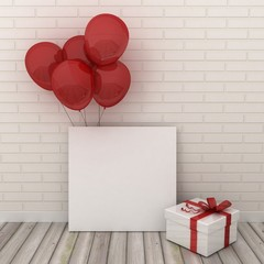 Empty picture frames in modern interior background on the white brick wall with rustic wooden floor with balloons. Celebration, New Year and birthday concept. Copy space image.
