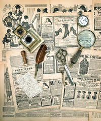 Vintage accessories and writing tools, old fashion magazine