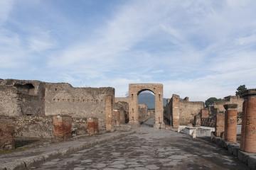 Ruinas de la antigua ciudad de Pompeya en Italia