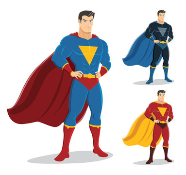 Male superhero standing with pride and confident. On the right are 2 additional versions. Vector EPS10. No gradients used.