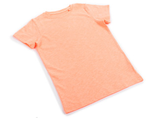 Pink cotton T-shirt isolated on white background