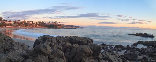 Sunset over Crescent Bay in Laguna Beach, California in fall