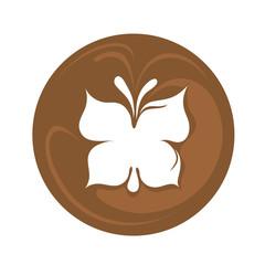 Butterfly latte art coffee logo icon