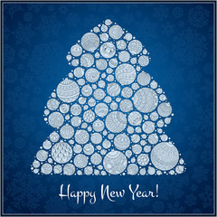 Happy New Year Greeting Card. Christmas tree from balls illustra