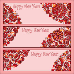 Set of Elegant Red Christmas and Happy New Year banners