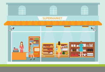 Supermarket building and interior with people buying products.